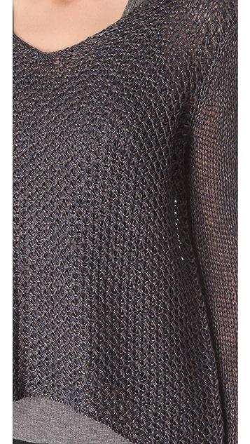 HELMUT Helmut Lang Tucked Linen Asymmetrical Pullover