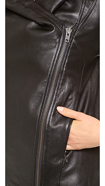 HELMUT Helmut Lang Hooded Leather Jacket