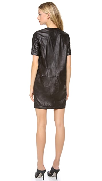 HELMUT Helmut Lang Leather Shirtdress