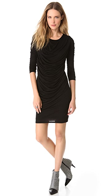 HELMUT Helmut Lang Long Sleeve Drape Dress