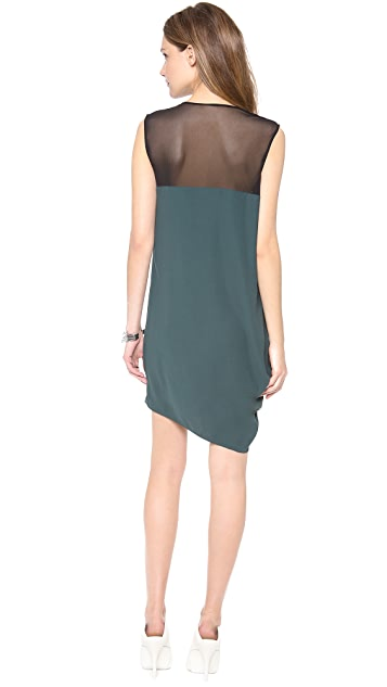 HELMUT Helmut Lang Nexa Draped Dress with Mesh