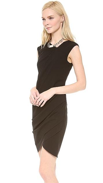 HELMUT Helmut Lang Dry Crepe Open Asymmetrical Dress