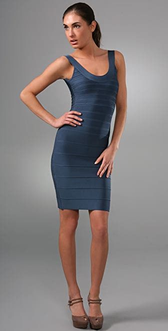 Herve Leger Signature Essentials Round Neck Cocktail Dress
