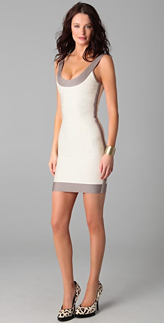 Herve Leger Colorblock Round Neck Cocktail Dress