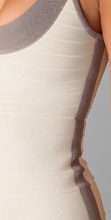 Herve Leger Colorblock Round Neck Cocktail Dress