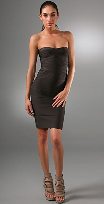 Herve Leger Signature Essentials Strapless Cocktail