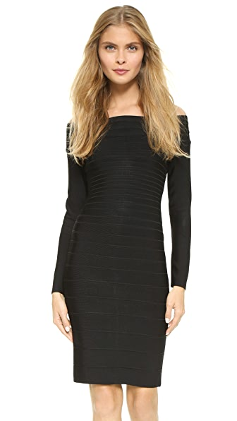Herve Leger Signature Essential Long Sleeve Cocktail Dress - Black