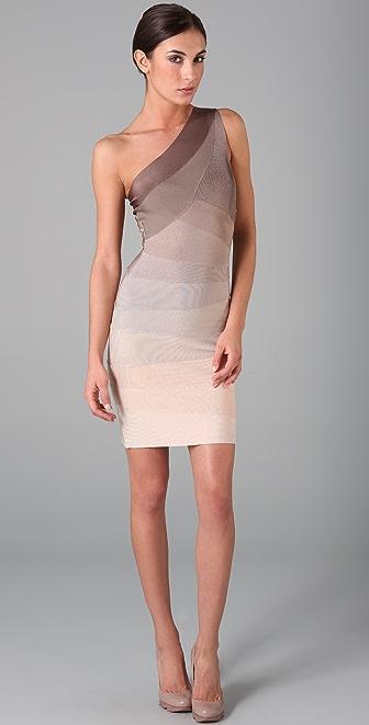 Herve Leger Ombre One Shoulder Dress