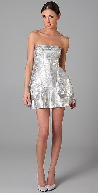 Herve Leger Strapless Tiered Dress