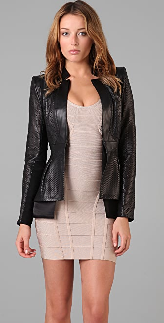 Herve Leger Leather & Bandage Perforated Jacket