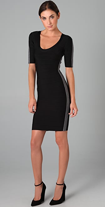 Herve Leger Scoop Neck Dress with Side Stripes