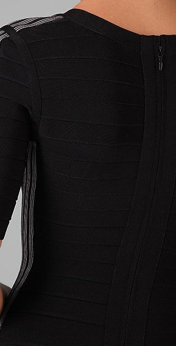 Herve Leger Scoop Neck Dress with Side Stripes