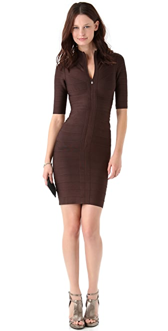 Herve Leger Turtleneck 3/4 Sleeve Dress