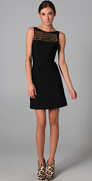 Herve Leger Boat Neck Dress with A Line Skirt