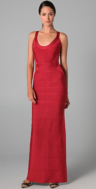 Herve Leger Scoop Neck Gown