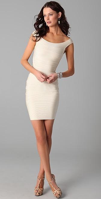 Herve Leger Off Shoulder Mini Dress