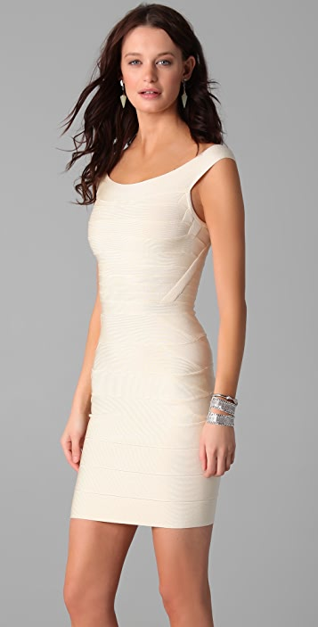 Herve Leger Off Shoulder Mini Dress