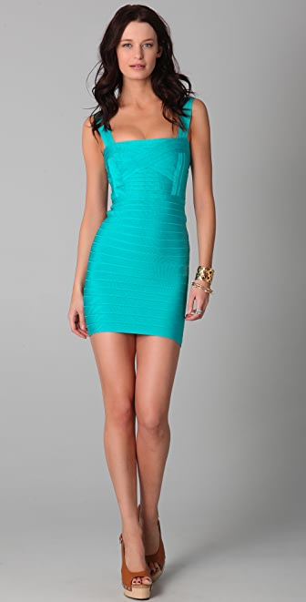 Herve Leger Square Neck Sleeveless Dress