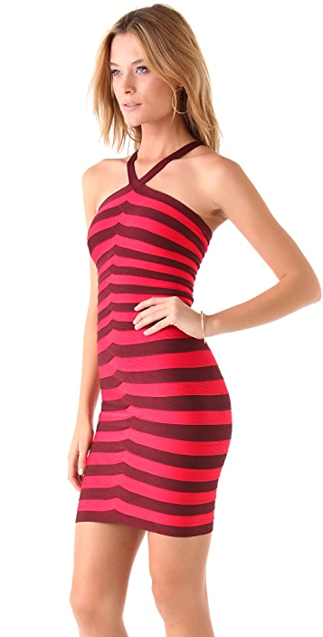 Herve Leger Striped Halter Dress