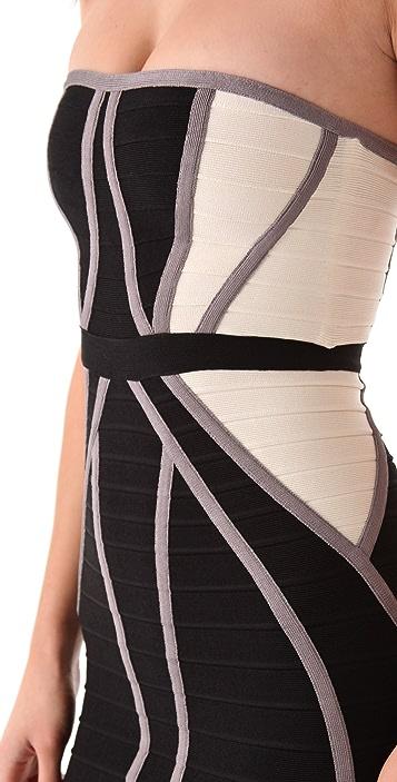 Herve Leger Strapless Colorblock Dress