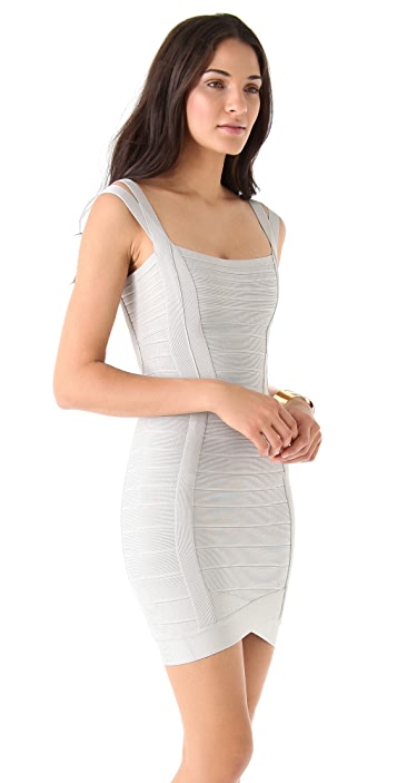Herve Leger Sleeveless Square Neck Dress
