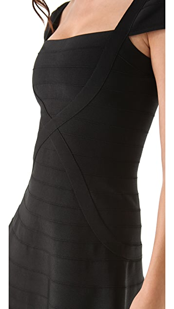 Herve Leger Cap Sleeve A Line Dress