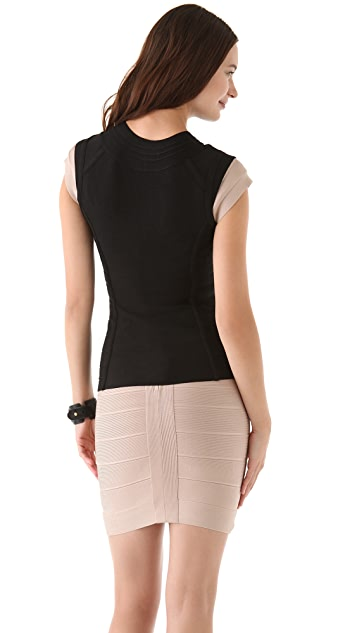 Herve Leger Sleeveless Top with Double Zipper