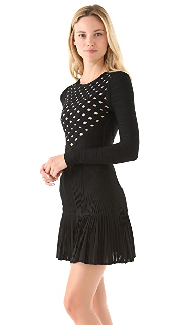 Herve Leger Long Sleeve A-Line Dress