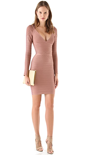 Herve Leger Long Sleeve V Neck Dress
