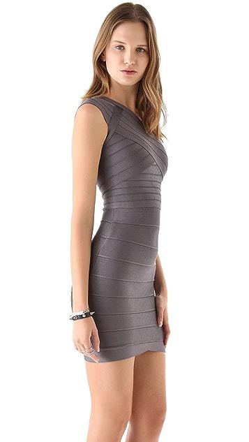 Herve Leger One Shoulder Dress