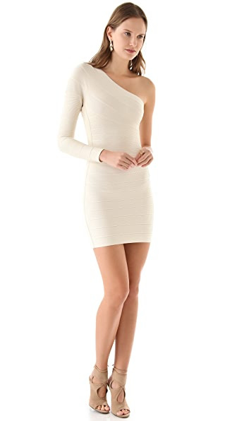 Herve Leger Long Sleeve Shoulder Dress