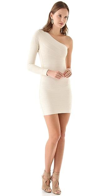 Herve Leger Long Sleeve Shoulder Dress