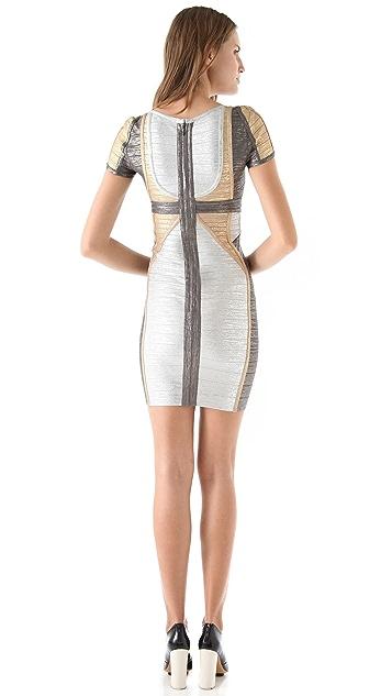 Herve Leger Short Sleeve Metallic Dress