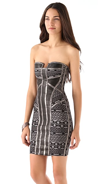 Herve Leger Strapless Gunmetal Dress