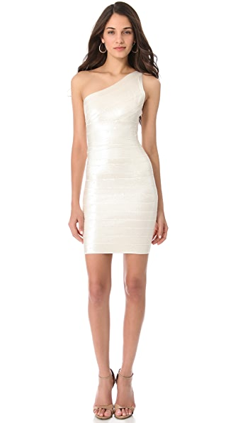 Herve Leger One Shoulder Dress