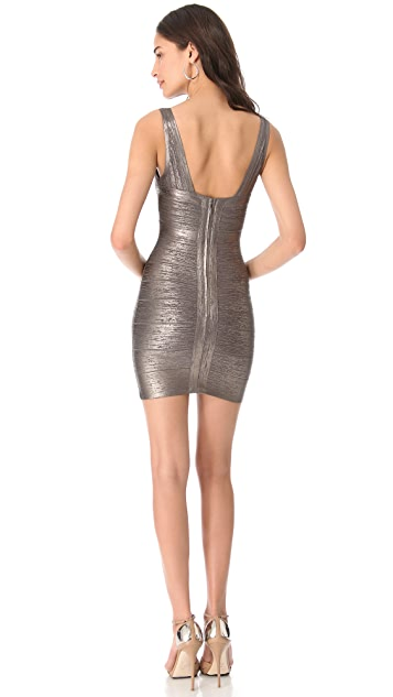 Herve Leger Gunmetal V-Neck Dress