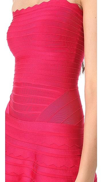 Herve Leger Strapless A-Line Dress