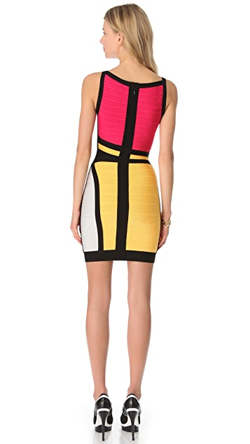 Herve Leger Colorblock Sheath Dress
