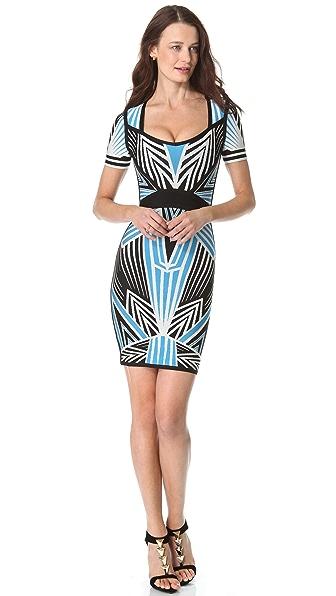 Herve Leger Print Short Sleeve Dress