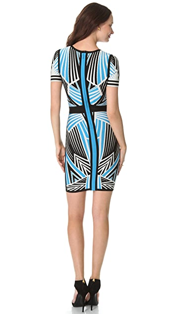 Herve Leger Print Short Sleeve Dress