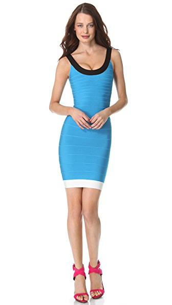 Herve Leger Scoop Neck Sleeveless Dress