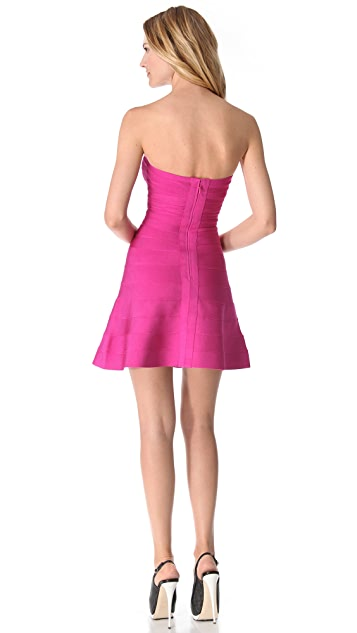 Herve Leger Strapless Mid Thigh Dress