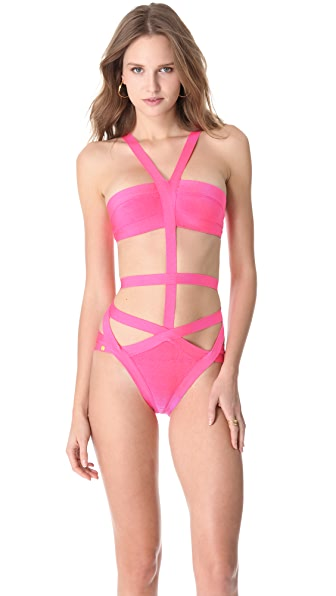 Herve Leger Cutout One Piece Swimsuit