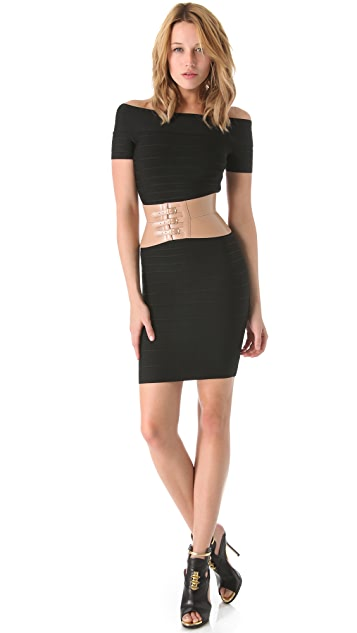 Herve Leger Leather Belt
