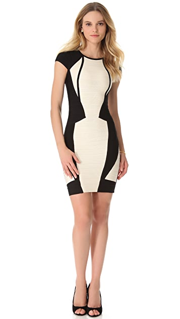 Herve Leger Akira Cap Sleeve Dress