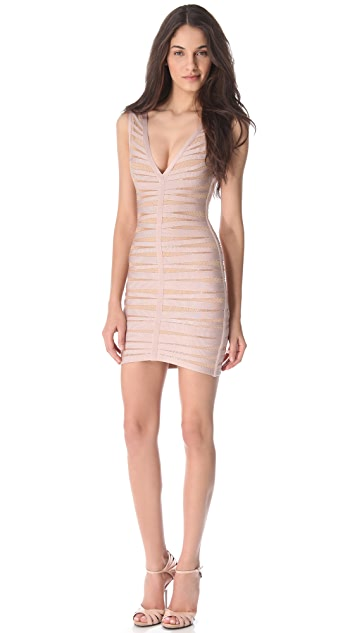 Herve Leger Eliza Dress with Mesh Trim