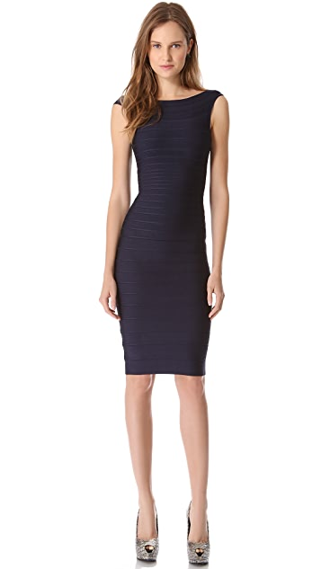 Herve Leger Ardell Boat Neck Dress