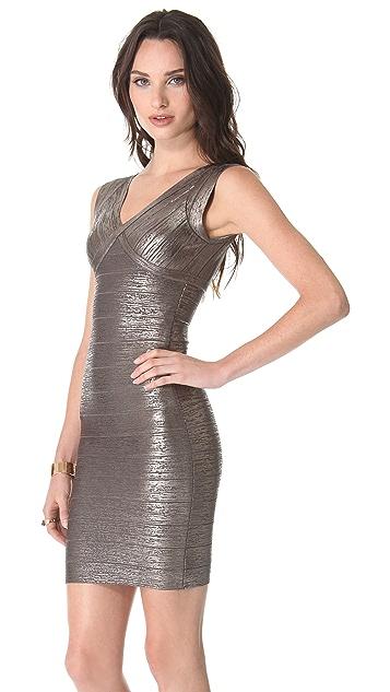Herve Leger Foil V Neck Dress