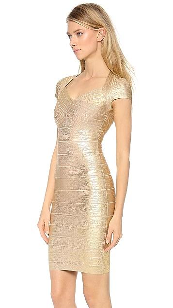Herve Leger Tejana Short Sleeve Dress