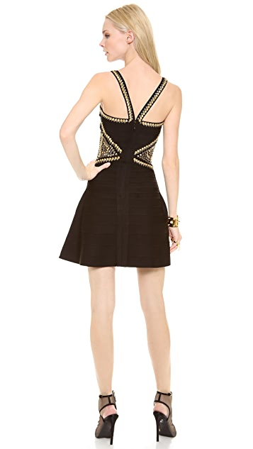 Herve Leger Ayia Studded Mini Dress